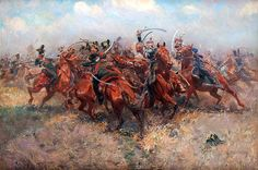 Polish Lancers of the Guarde in the service of Napoleon collide with Russian Lancers.