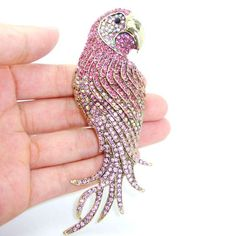 Authentic Lenora CZ Rhinestone Crystal Encrusted Handmade Parrot Decorative Collector's Bouquet Brooch - Free Shipping
