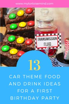 How to create 13 delicious food and drink ideas for a Car theme first birthday party. Birthday Party Snacks, First Birthday Party Themes, Race Car Birthday, Cars Birthday Parties, Kids Party Themes, Food Themes, 2nd Birthday, Party Ideas, Birthday Cakes