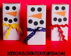 Cute snowmen covers for juice boxes your kids will love. A great party favor or just something fun for lunch …