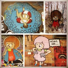"""If you ever go to berlin, look out for this cute little girl graffitied all over """"Little Lucy"""".. She's always trying to kill her cat....! #berlin #graffiti"""