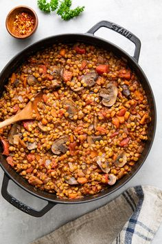 Hearty Mushroom + Lentil Ragu recipe is packed with protein and fiber and is a hearty, savory and comforting vegan main dish! Lunch or dinner approved. Plant Based Recipes, Veggie Recipes, Whole Food Recipes, Vegetarian Recipes, Cooking Recipes, Meal Recipes, Coconut Vegetable Curry, Lentil Ragu, Ragu Recipe