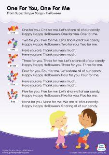 Lyrics poster for hello my friends halloween song from super lyrics poster for one for you one for me halloween song from super simple learning stopboris Images