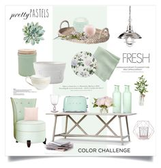 """Pretty Pastels"" by rever-de-paris ❤ liked on Polyvore featuring interior, interiors, interior design, home, home decor, interior decorating, Ladurée, NOVICA, H&M and CB2"