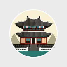 Gyeongbokgung Palace, Seoul, South Korea. Illustration by @mayaidanan