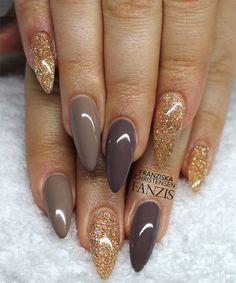 Golden Glitter Brown Stiletto Nails