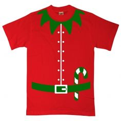 Mens Official Elf Costume T Shirt NEW Green Christmas