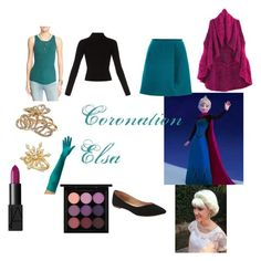 """Coronation Elsa Closet Cosplay"" by thecrystalheart on Polyvore featuring Free People, Haider Ackermann, Old Navy, L. Erickson, Charter Club, NARS Cosmetics, MAC Cosmetics, Disney and Carven"