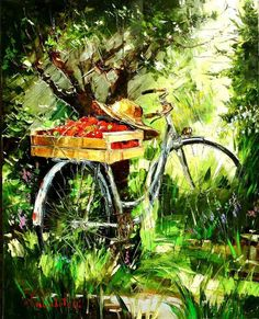 Find images and videos about painting, bike and bicycle on We Heart It - the app to get lost in what you love. Landscape Art, Landscape Paintings, Art Expo, Bicycle Art, Cycling Art, Arte Floral, Art Plastique, Oeuvre D'art, Impressionism