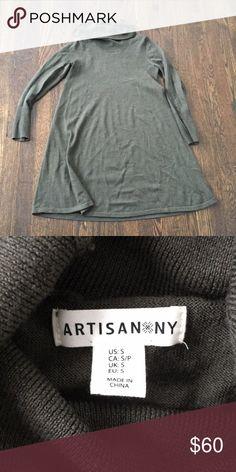 100% Merino wool SWEATER DRESS Super cozy a-line turtleneck Artisan Ny Dresses Long Sleeve