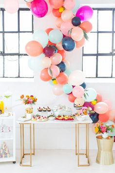 Balloons are the epitome of parties and we're loving the balloon garland trend right now. Check out these 16 Balloon Garland Party Ideas for your next party Balloon Arch, Balloon Garland, Balloon Columns, Balloon Ideas, Balloon Decorations, Table Garland, Balloon Display, Kids Party Decorations, Wedding Decorations