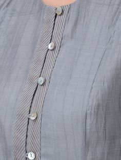 Grey Button-down Chanderi Kurta Buy Grey Button down Chanderi Kurta Shell: Lining: Cotton Up To Chudidhar Neck Designs, Neck Designs For Suits, Neckline Designs, Designs For Dresses, Dress Neck Designs, Sleeve Designs, Blouse Designs, Punjabi Suit Neck Designs, Salwar Neck Designs