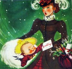 Vintage Christmas Card Mother and Child