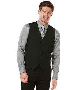 @Lisa Shomo Weaver Perry Ellis Big and Tall Vest, Button-Front Solid Vest