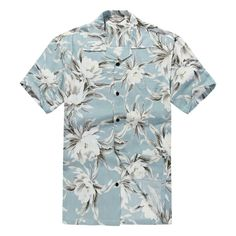 Men Hawaiian Aloha Shirt in Waterlily Sky Blue