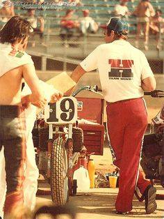 Jerry in about 1981, with an NS750 prepared for Freddie Spencer.