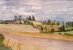 Original painting Fields and Farmland nr by JulianLovegroveArt, £40.00