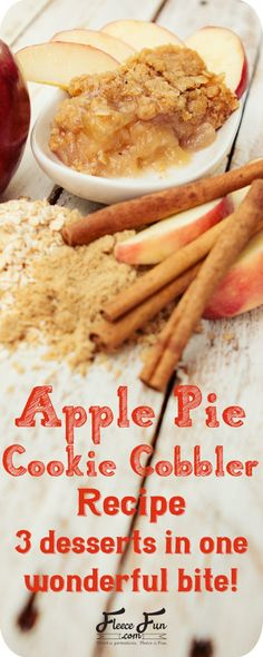 Apple pie cookie coobler | This wonderful dessert takes three concepts:  Apple Pie, Cobbler and Cookies and merges them into one amazing bite!