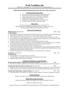 resume writing hospitality management vision specialist