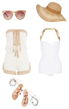 """Untitled #48"" by susan-v on Polyvore featuring Norma Kamali, Anna Kosturova, Ancient Greek Sandals and coverups"