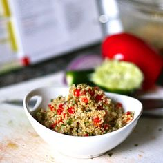 Quinoa Salad with Red Pepper and Cilantro - a healthy easy delicious side dish that is also gluten free! Quinoa Recipes Easy, Superfood Recipes, Healthy Salad Recipes, Real Food Recipes, Vegetarian Recipes, Protein Recipes, Yummy Food, Clean Eating Recipes, Healthy Eating