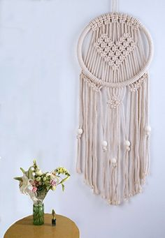 "Macrame Wall Hanging Tapestry Heart Shaped Woven Dream Catcher - BOHO Chic Bohemian Wall Decor - Apartment Studio Dorm Room Decorative Interior Decor 11""W x 30""L"