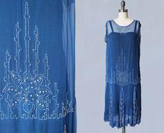 1920s Dress / Bright Blue Sheer Silk Chiffon BEADED Flapper Dress / Rhinestones