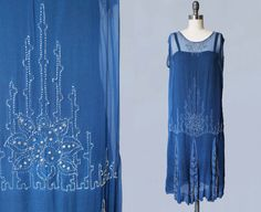 RESERVED 1920s Dress / Bright Blue Sheer Silk by GuermantesVintage