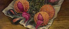 Septiembre. Frutas preludiando amor, (bodegón con alcachofas y pitayas), (detalle), óleo sobre masonite, co. 1944, Manuel González Serrano.
