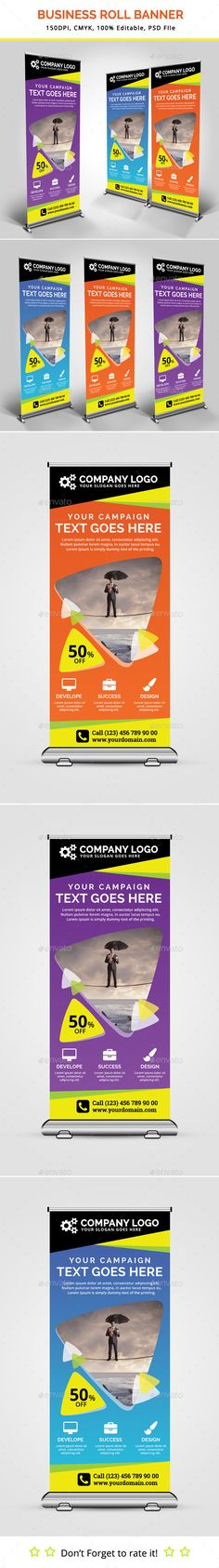 Design FREEBIE! High quality, print ready roll up banner template - template