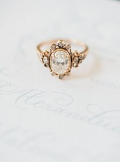 Vintage Diamond Engagement Ring #weddingring