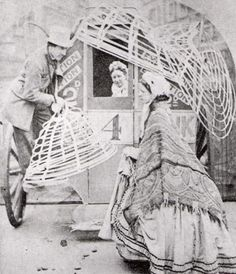 Crinolines had to be hanged outside when entering public transport, 1858.