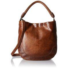 FRYE Melissa Hobo Bag ($388) ❤ liked on Polyvore featuring bags, handbags, shoulder bags, frye handbags, hobo shoulder handbags, brown purse, brown hobo shoulder bag and brown shoulder bag