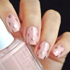 Magnificent Pale Pink Nails with Polka Dots ..