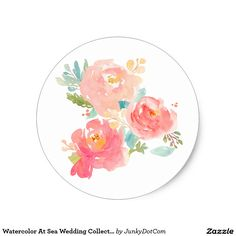 Watercolor At Sea Wedding Collection Classic Round Sticker @zazzle #junkydotcom Sept 2016