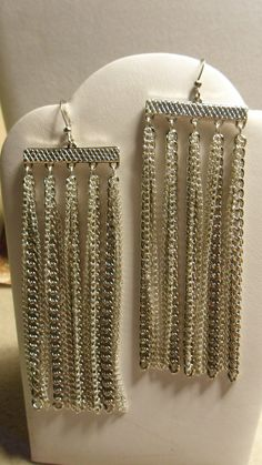 Sleek Silver Chain Dangle Earrings by ArtisticDesignsKS on Etsy, $7.99