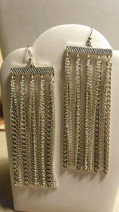 Sleek Silver Chain Dangle Earrings by ArtisticDesignsKS on Etsy, $7.99