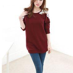 Fashion Crochet Lace Spliced Round Neck Long Sleeve T-shirt