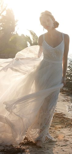 Boho wedding dress, perfect for a beach.