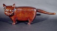 Anonymous Works: A Folk Art Treen Articulated Cat Tea Caddy, Circa 1850