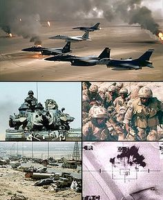 Photos from various sources depicting the Persian Gulf War in 1991