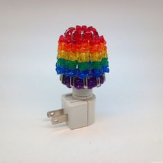 Rainbow Bead Night Light Cover - by Suzi's Crafts - such a clever dollar store craft.