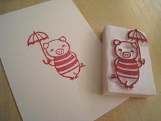 Mary Poppin Boo - Handcarved Rubber Stamp of Cute Piggy with an Umbrella Diy Cadeau, Origami, Stamp Carving, Cute Piggies, Pad Design, Handmade Stamps, This Little Piggy, Japanese Cotton, Ink Pads