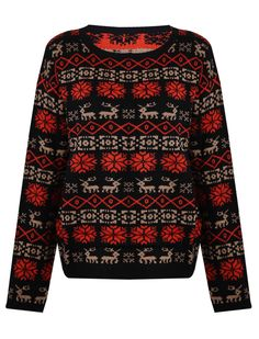 Black Snowflake Deer Pattern Elbow Patched Sweater - Sheinside.com