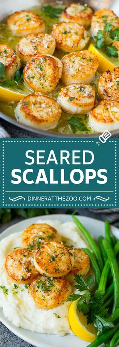 Seared scallops with a garlic and herb butter sauce. An easy and elegant dinner! #seafood #dinner #dinneratthezoo Fish Recipes, Lunch Recipes, Easy Dinner Recipes, Seafood Recipes, Beef Recipes, Great Recipes, Cooking Recipes, Easy Meals, Favorite Recipes