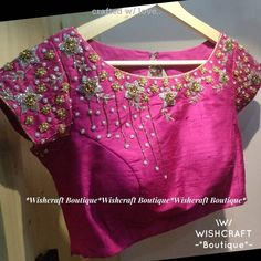 Boat neck Saree Blouse with trendy handwork. Party wear Blouse Design Custom Made. Free fast shipping to USA UK Canada & India Cutwork Blouse Designs, Best Blouse Designs, Pattu Saree Blouse Designs, Simple Blouse Designs, Stylish Blouse Design, Bridal Blouse Designs, Blouse Neck Designs, Kurta Designs, Hand Work Blouse Design