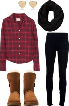 Casual outfit incorporating many fall trends like, comfy leggings, plaid shirt, nice scarf and UGG AUSTRALIA Suede Bailey Button Boots in Chestnut.