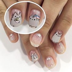 Cute Pusheen set by senior nail artist Eloise! *this design must be requested in advance! Kawaii Nail Art, Cat Nail Art, Animal Nail Art, Cat Nails, Nail Swag, Super Cute Nails, Nails For Kids, Trendy Nail Art, Nagel Gel