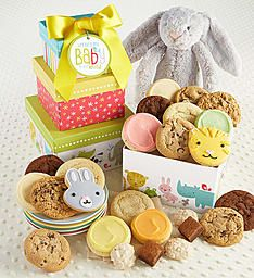 Welcome Baby Girl Gift Tower | Cheryls.com | This charming gift tower arrives with a tasty assortment of cookies and snack size brownies! Incudes a cuddly bunny just for baby.