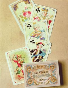 ANTIQUE FRENCH REPLICA PLAYING CARDS via VictorianTradingCo.com